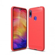 Carbon Fiber Texture Brushed TPU Case for Xiaomi Redmi Note 7 / Note 7 Pro (India) - Red
