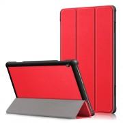 Δερμάτινη Θήκη Βιβλίο Tri-Fold με Βάση Στήριξης για Lenovo Tab M10 TB-X605F - Κόκκινο