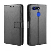 Crazy Horse Wallet Leather Phone Casing with Strap for Huawei Honor View 20 / V20 - Black