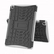 Υβριδική Θήκη Σιλικόνης σε Συνδυασμό με Πλαστικό και Βάση Στήριξης για Huawei MediaPad M5 10 / M5 10 (Pro) - Μαύρο/Λευκό