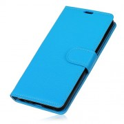 Litchi Skin Wallet Stand Leather Accessory Shell for Sony Xperia 10 - Blue