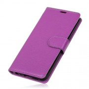 Litchi Skin Wallet Stand Leather Accessory Cover for Sony Xperia 10 - Purple