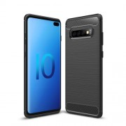 Carbon Fiber Texture Brushed TPU Mobile Phone Casing for Samsung Galaxy S10 Plus - Black