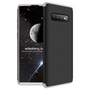 GKK 360 μοιρών Σκληρή Θήκη Ματ με Βελούδινη Υφή Πρόσοψης και Πλάτης για Samsung Galaxy S10 Plus - Μαύρο/Ασημί