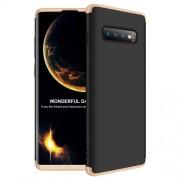 GKK 360 μοιρών Σκληρή Θήκη Ματ με Βελούδινη Υφή Πρόσοψης και Πλάτης για Samsung Galaxy S10 Plus - Μαύρο/Χρυσαφί
