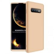 GKK 360 μοιρών Σκληρή Θήκη Ματ με Βελούδινη Υφή Πρόσοψης και Πλάτης για Samsung Galaxy S10 Plus - Χρυσαφί