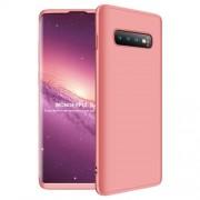GKK 360 μοιρών Σκληρή Θήκη Ματ με Βελούδινη Υφή Πρόσοψης και Πλάτης για Samsung Galaxy S10 Plus - Ροζέ Χρυσαφί