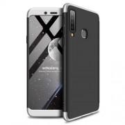 GKK 360 μοιρών Σκληρή Θήκη Ματ με Βελούδινη Υφή Πρόσοψης και Πλάτης για Samsung Galaxy A9 (2018) / A9s - Μαύρο/Ασημί