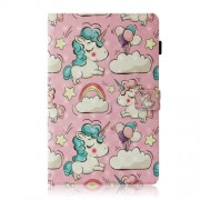 Pattern Printing Light Spot Decor Wallet Smart Leather Case for Samsung Galaxy Tab A 10.5 (2018) T590 T595 - Shy Unicorn