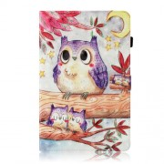 Pattern Printing Light Spot Decor Wallet Leather Smart Casing for Samsung Galaxy Tab A 10.5 (2018) T590 T595 - Owl and Tree