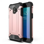Armor Guard Plastic + TPU Combo Protective Phone Back Case for Samsung Galaxy J2 Core - Rose Gold