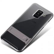 ELEGANCE Υβριδική Θήκη Σιλικόνης TPU (Πλάτη Διάφανη) σε Συνδυαμό με Πλαστικό και με Βάση Στήριξης για Samsung Galaxy A6 Plus (2018) - Γκρι