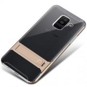 ELEGANCE Υβριδική Θήκη Σιλικόνης TPU (Πλάτη Διάφανη) σε Συνδυαμό με Πλαστικό και με Βάση Στήριξης για Samsung Galaxy A6 Plus (2018) - Χρυσαφί