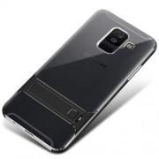 ELEGANCE Υβριδική Θήκη Σιλικόνης TPU (Πλάτη Διάφανη) σε Συνδυαμό με Πλαστικό και με Βάση Στήριξης για Samsung Galaxy A6 Plus (2018) - Μαύρο