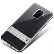 ELEGANCE Υβριδική Θήκη Σιλικόνης TPU (Πλάτη Διάφανη) σε Συνδυαμό με Πλαστικό και με Βάση Στήριξης για Samsung Galaxy A6 Plus (2018) - Ασημί