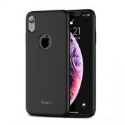 IPAKY 360 μοιρών Σκληρή Θήκη Ματ με Βελούδινη Υφή Πρόσοψης και Πλάτης για iPhone XR 6.1 inch - Μαύρο