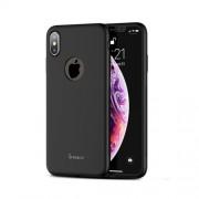 IPAKY 360 μοιρών Σκληρή Θήκη Ματ με Βελούδινη Υφή Πρόσοψης και Πλάτης με Μεμβράνη Προστασίας Οθόνης για iPhone XS / X - Μαύρο