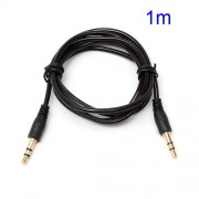 1M 3.5mm Male to 3.5mm Male Transparent Stereo Audio Cable for iPhone MP3 MP4 - Black