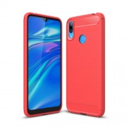 Carbon Fibre Brushed TPU Back Case for Huawei Y7 (2019) - Red