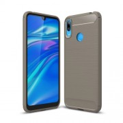 Carbon Fibre Brushed TPU Phone Shell Case for Huawei Y7 (2019) - Grey