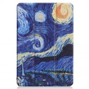 For Huawei Mediapad C5 10 / M5 Lite 10 Pattern Printing Leather Tri-fold Stand Tablet Cover - Oil Painting