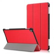 Δερμάτινη Θήκη Βιβλίο Tri-Fold με Βάση Στήριξης για Huawei Mediapad M5 Lite 10 / C5 10 - Κόκκινο