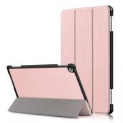 Δερμάτινη Θήκη Βιβλίο Tri-Fold με Βάση Στήριξης για Huawei Mediapad M5 Lite 10 / C5 10 - Ροζέ Χρυσαφί