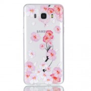 Rubberized Embossed Soft TPU Mobile Cover for Samsung Galaxy J7 (2016) SM-J710 - Pink Flower