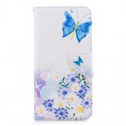 Patterned PU Leather Stand Cell Phone Cover for Samsung Galaxy A8+ (2018) - Butterfly and Daisy