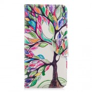 Patterned PU Leather Stand Phone Accessory Case for Samsung Galaxy A8 Plus (2018) - Colorized Tree