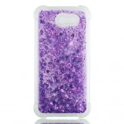 Dynamic Liquid Glitter Powder Heart Shaped Sequins Shockproof TPU Back Case for Samsung Galaxy J3 2017 US Version/J3 Emerge/J3 Prime - Purple