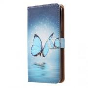 Δερμάτινη Θήκη Πορτοφόλι με Βάση Στήριξης για Huawei Honor 10 - Μπλε Πεταλούδα στην Λίμνη