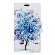 Patterned Wallet Leather Stand Protective Case for Samsung Galaxy J7 Prime 2 / J7 Prime (2018) - Blue Tree