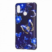 Pattern Printing Embossed TPU Gel Cover for Xiaomi Mi Max 3 Pro - Blue Butterfly