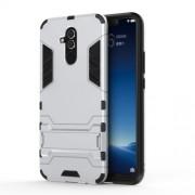 Υβριδική Θήκη Συνδυασμού Σιλικόνης TPU και Πλαστικού με Βάση Στήριξης για Huawei Mate 20 Lite - Ασημί