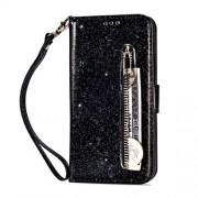 Δερμάτινη Θήκη Πορτοφόλι με Βάση Στήριξης (Διακόσμη με Glitter) για Huawei Mate 20 Lite - Μαύρο