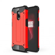 For OnePlus 6T Cool Armor Guard Plastic + TPU Combo Cell Phone Cover - Red