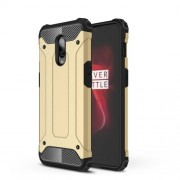 For OnePlus 6T Hybrid Plastic + TPU Cool Armor Guard Protection Case - Gold