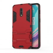 Cool Guard PC TPU Hybrid Phone Case with Kickstand for OnePlus 6T - Red