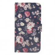 Patterned Leather Wallet Flip Cover Shell for Sony Xperia XZ1 - Blooming Flowers