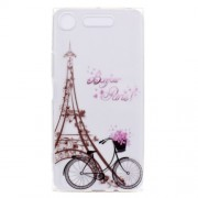 Pattern Printing Soft TPU Jelly Cover for Sony Xperia XZ1 - Tower and Bicycle