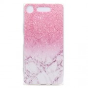 Pattern Printing Soft TPU Jelly Cellphone Case for Sony Xperia XZ1 - Pink Marble