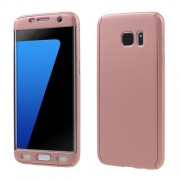 2-in-1 Full Protection PC Phone Shell for Samsung Galaxy S7 edge G935 + Screen Protector Film - Rose Gold