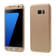 2-in-1 Full Protection PC Hard Cover for Samsung Galaxy S7 edge G935 + Screen Protector Film - Gold