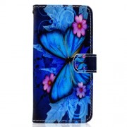 Pattern Printing Wallet Magnetic Leather Phone Case for Huawei Y5 (2018) / Y5 Prime (2018) / Honor 7s / Play 7 - Blue Butterfly and Flower