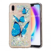 Dynamic Glitter Powder Heart Shaped Sequins Shockproof TPU Phone Case for Huawei P20 Lite / Nova 3e (China) - Blue Butterfly