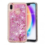 Dynamic Glitter Powder Heart Shaped Sequins Shockproof TPU Phone Cover Case for Huawei P20 Lite / Nova 3e (China) - Peach Blossom