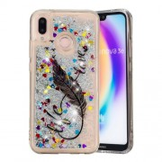 Dynamic Glitter Powder Heart Shaped Sequins Shockproof TPU Cover Case Shell for Huawei P20 Lite / Nova 3e (China) - Quill Pen