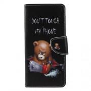 Δερμάτινη Θήκη Πορτοφόλι με Βάση Στήριξης για Samsung Galaxy A9 (2018) / A9 Star Pro / A9s - Θυμωμένο Αρκουδάκι