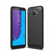 Carbon Fiber Texture Brushed TPU Mobile Case for Samsung Galaxy J6+ / J6 prime - Black